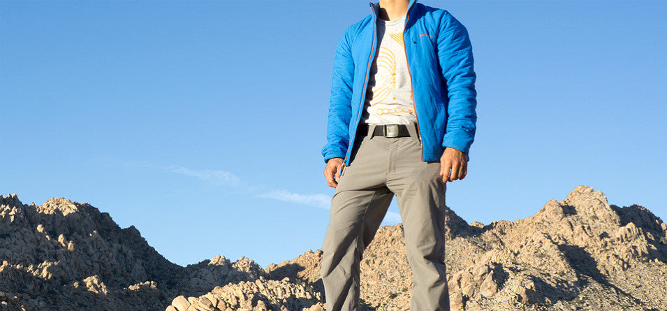 hiker wearing belt in mountains