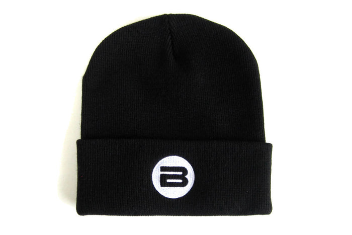 Black Beanie Hat, White B Logo