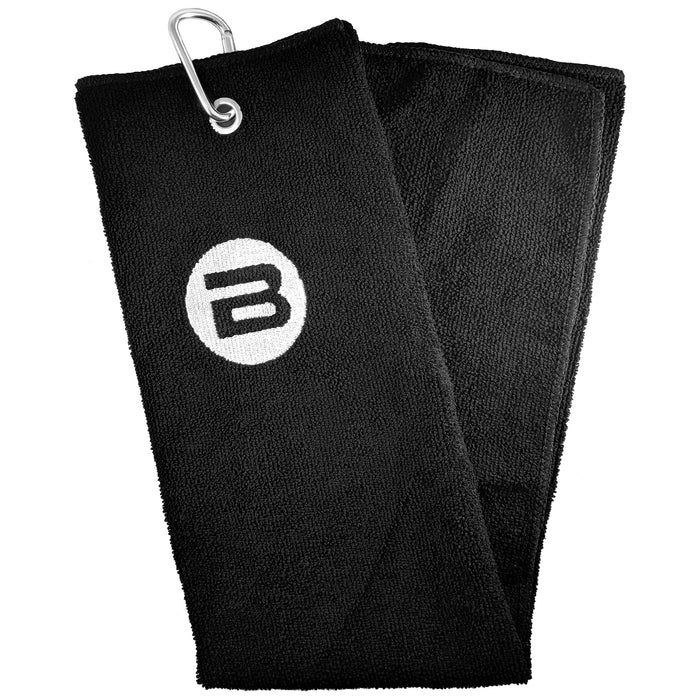 BESTA Black Pickleball Hand Towel with Carabiner - Front