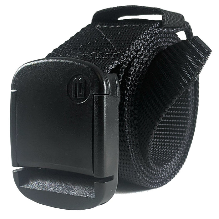 Narrow Black Nylon Web Belt - Rolled