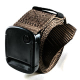 Narrow Brown Nylon Web Belt - Rolled