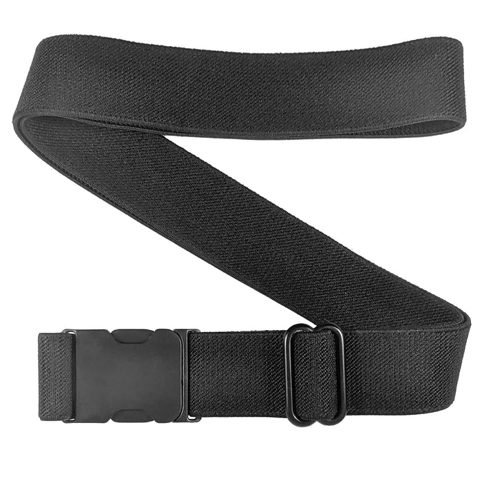Side Release Black Stretch Belt - Zig Zag