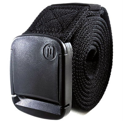 Betta Wide Black Elastic Belt, Mens - Rolled