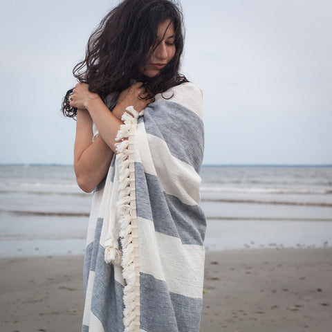 Linen Beach Towel With Fringe
