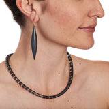 Cleopatra Oxidized Silver Collier~6mm Rock Crystal
