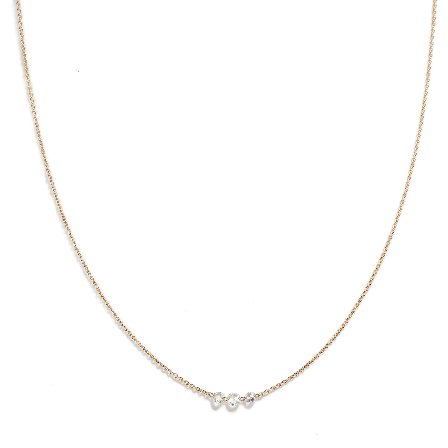Rose Gold Necklace with Diamond Trio