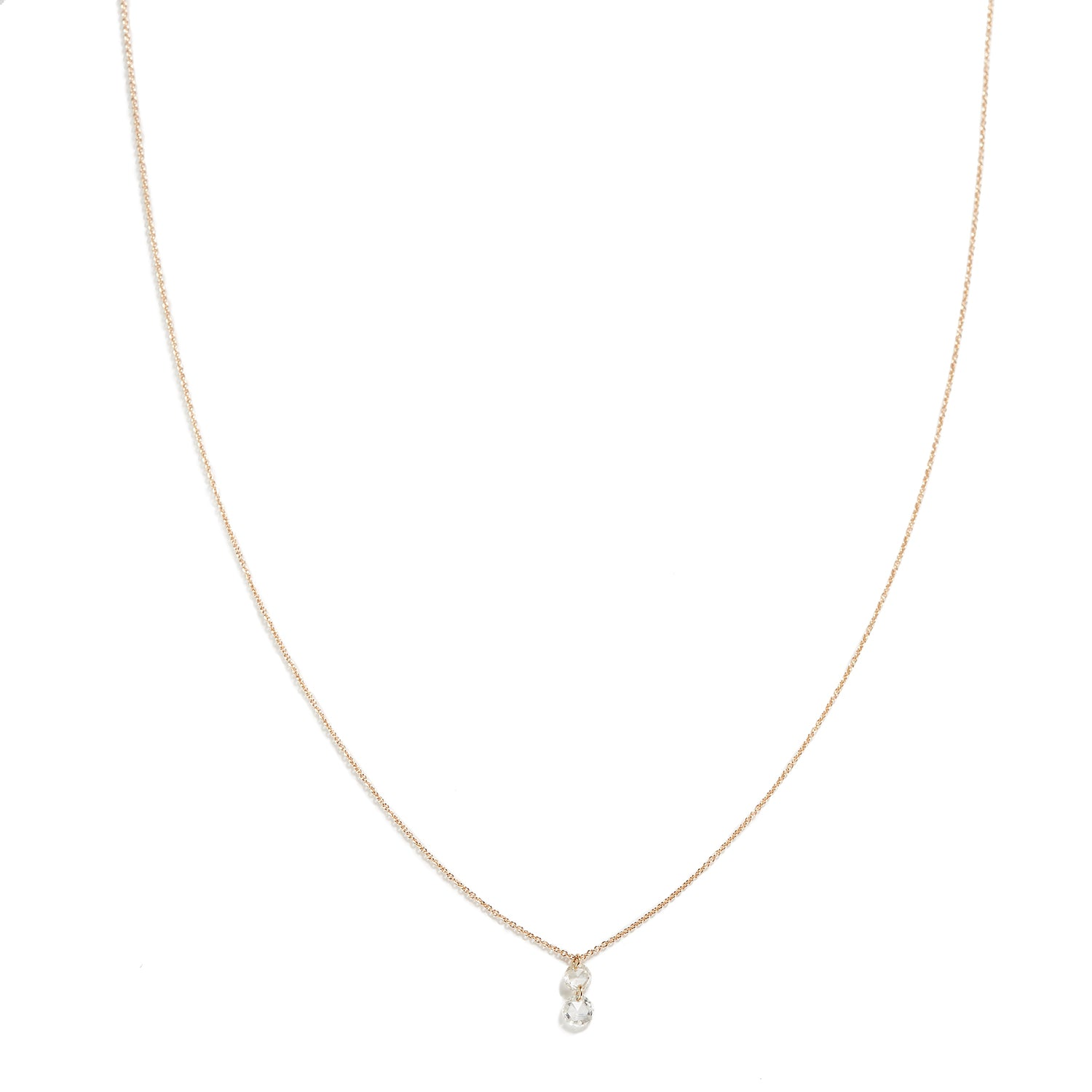 Rose Gold Necklace with Two Diamonds