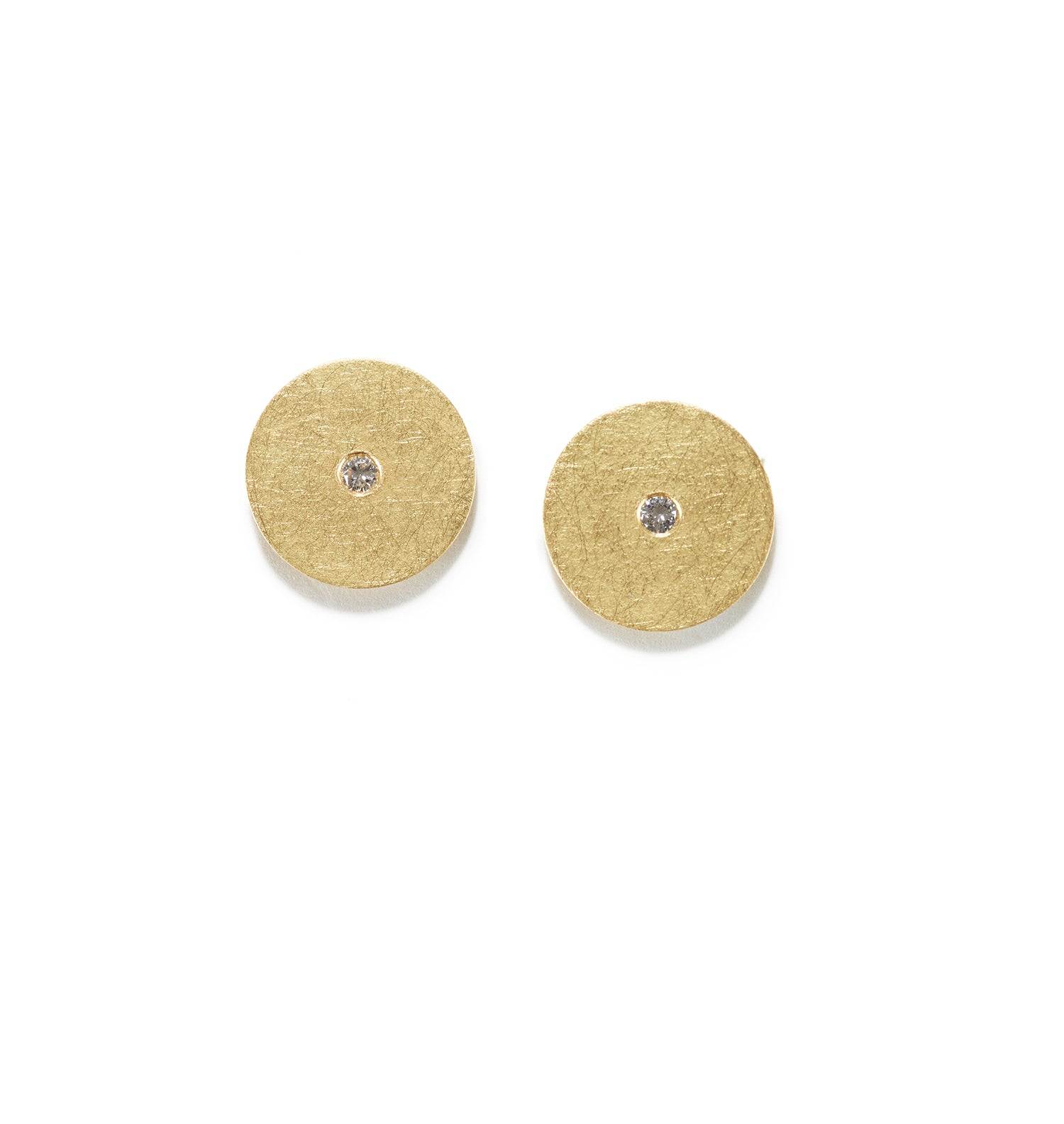 Round Gold & Diamond Earrings