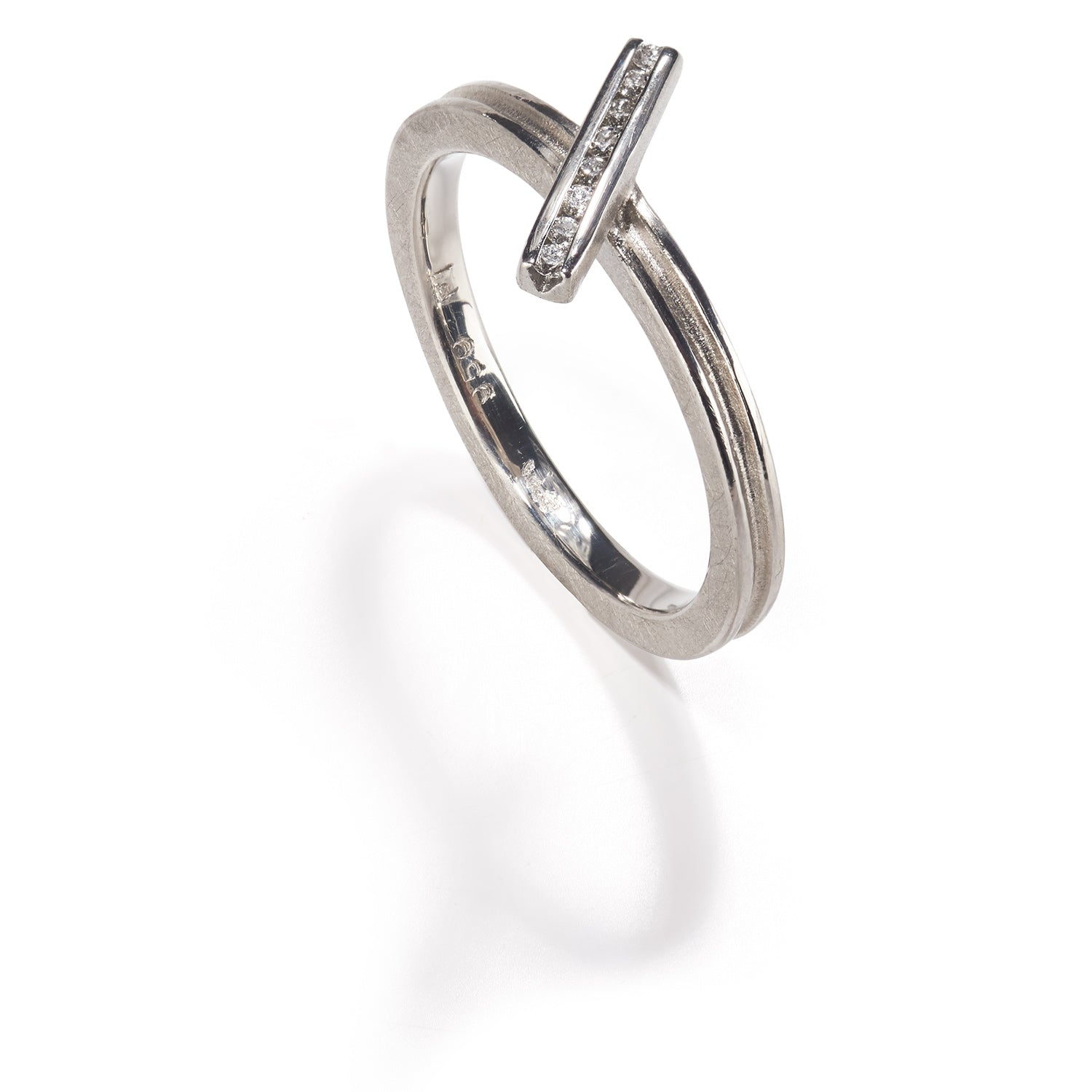 Platinum Diagonal Bar Ring