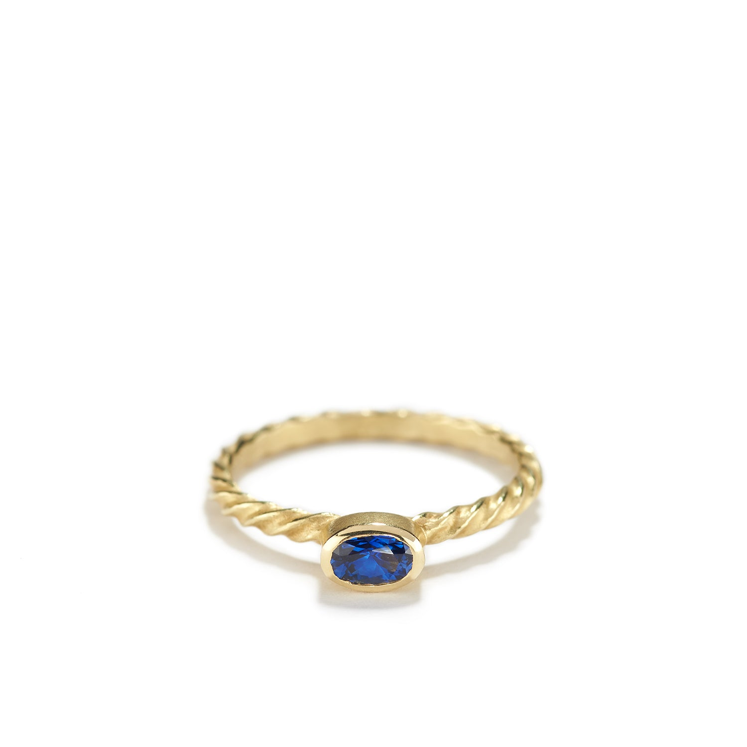 Blue Sapphire Ring with Spiral Band