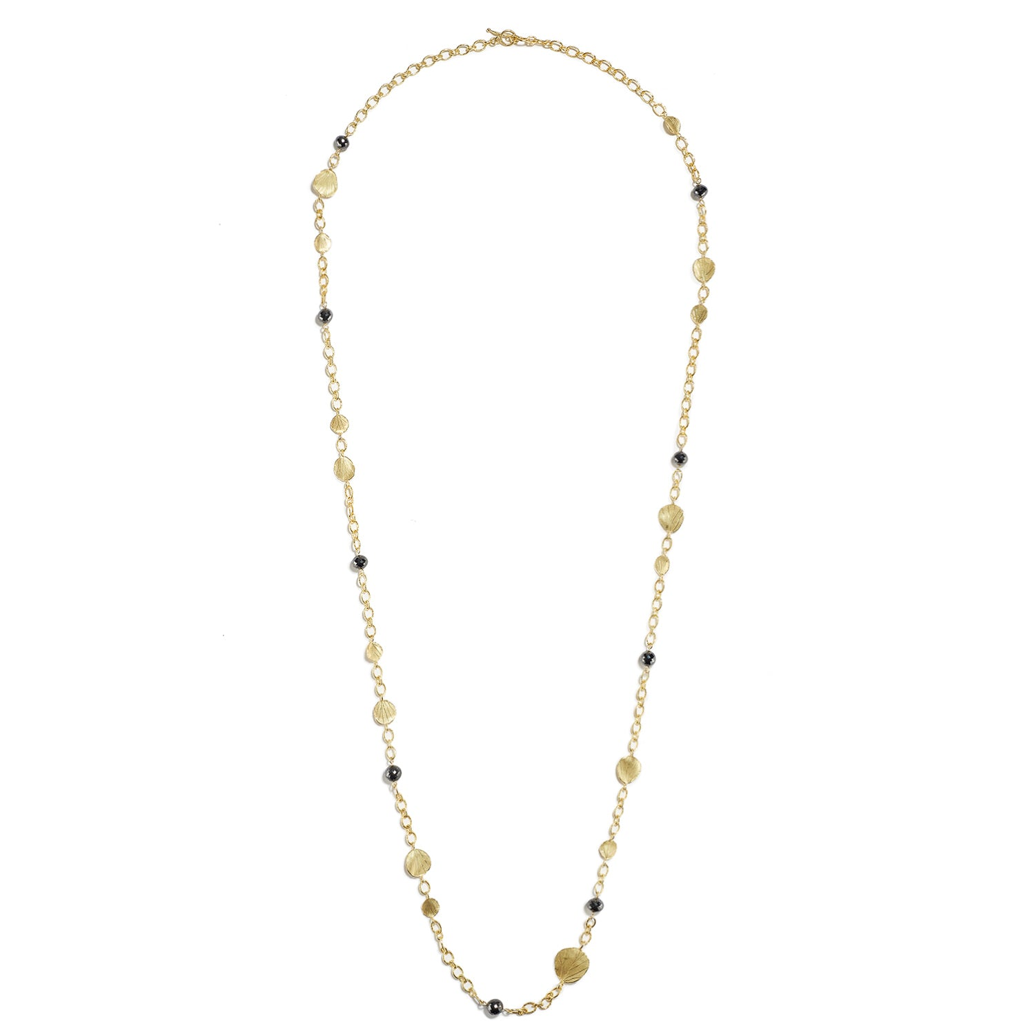 Long Black Diamond & Gold Necklace