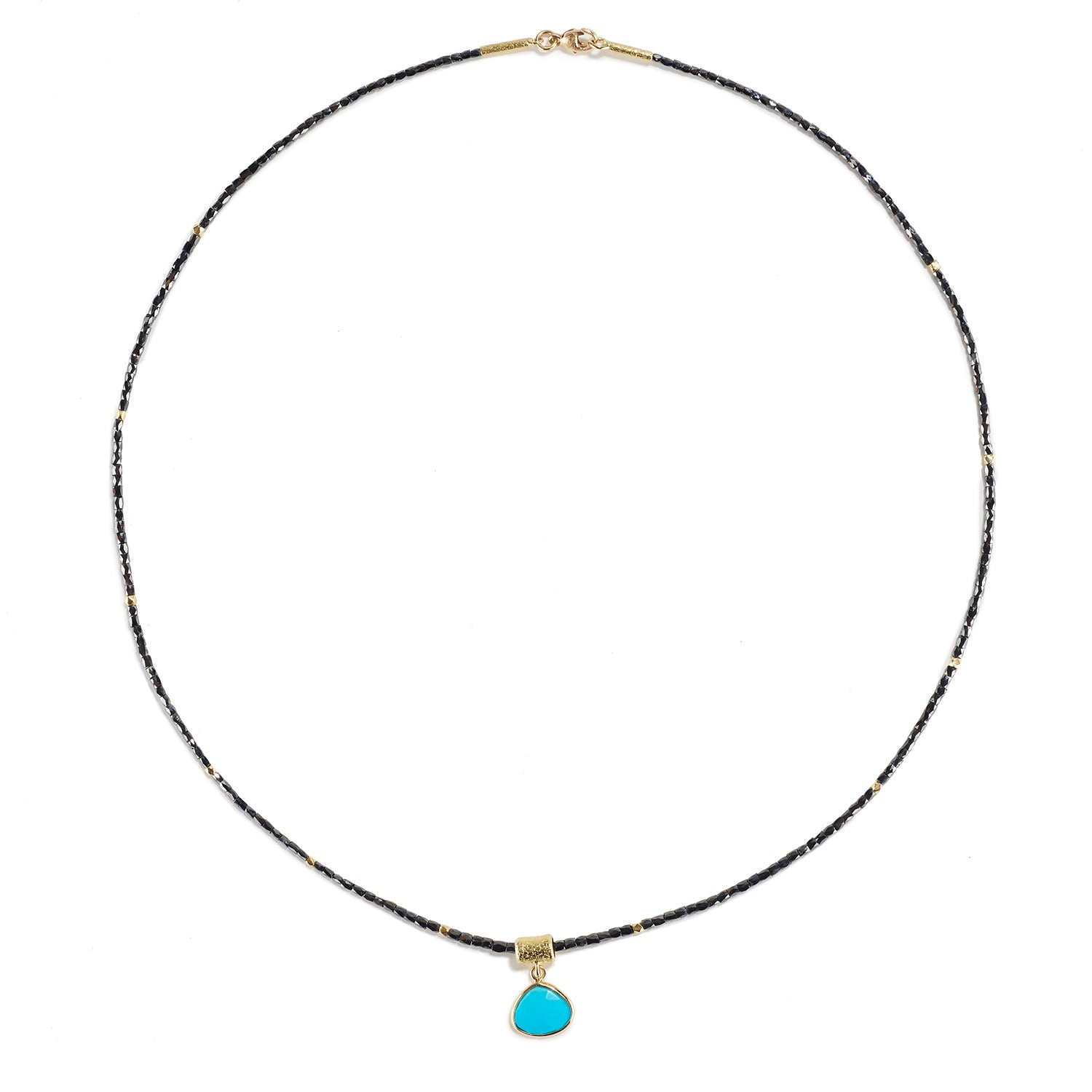 Long Black Diamond Necklace with Turquoise Drop