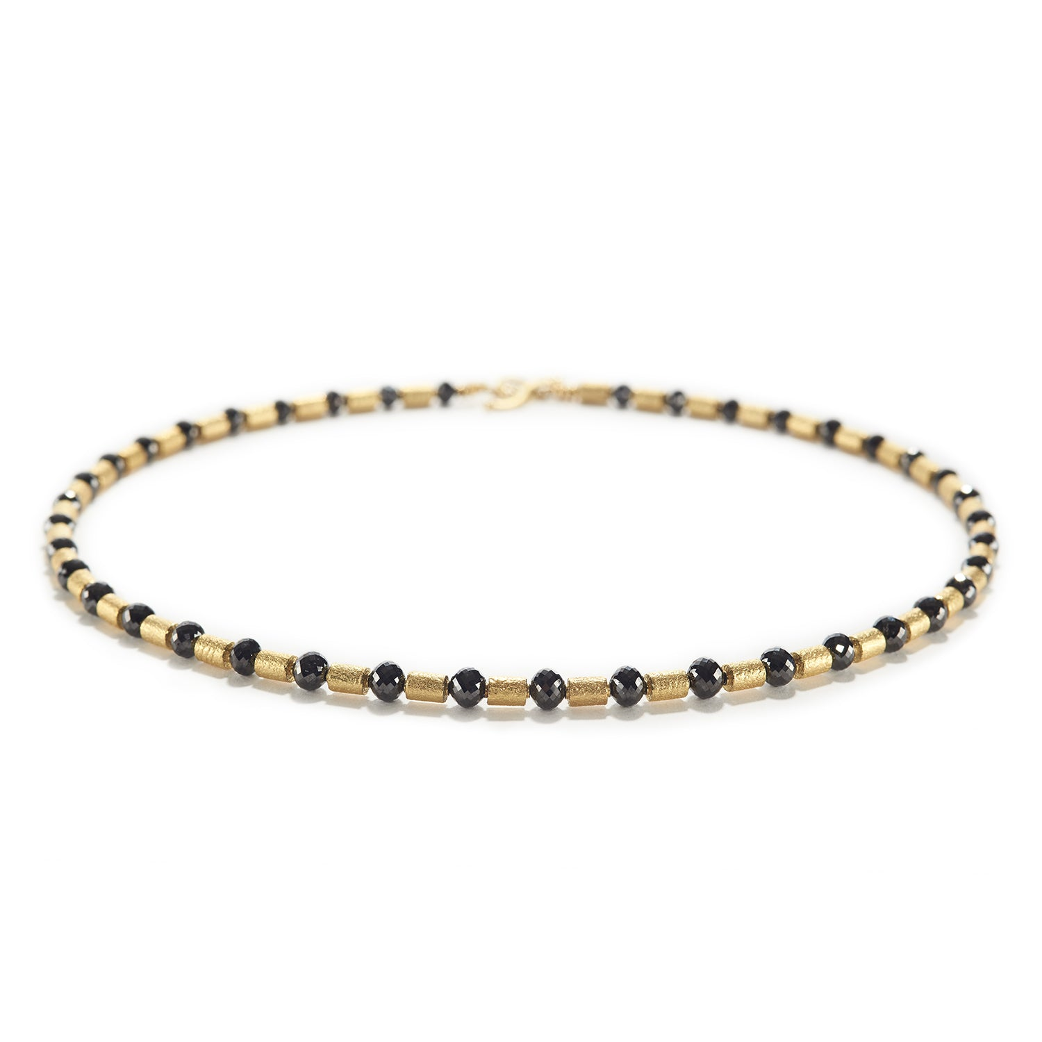 Black Diamond with Gold Barrels Necklace