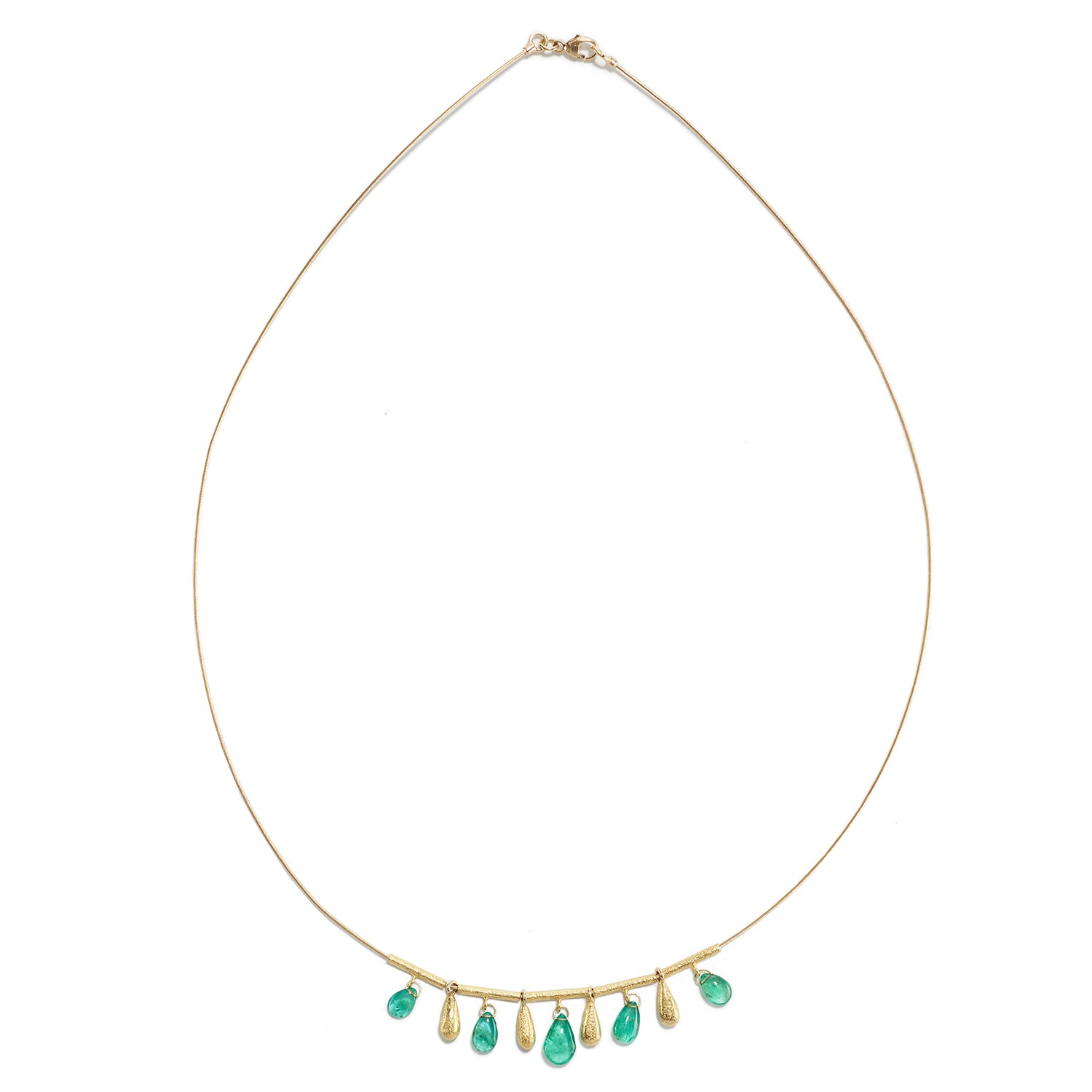 Necklace with Five Emerald Teardrops