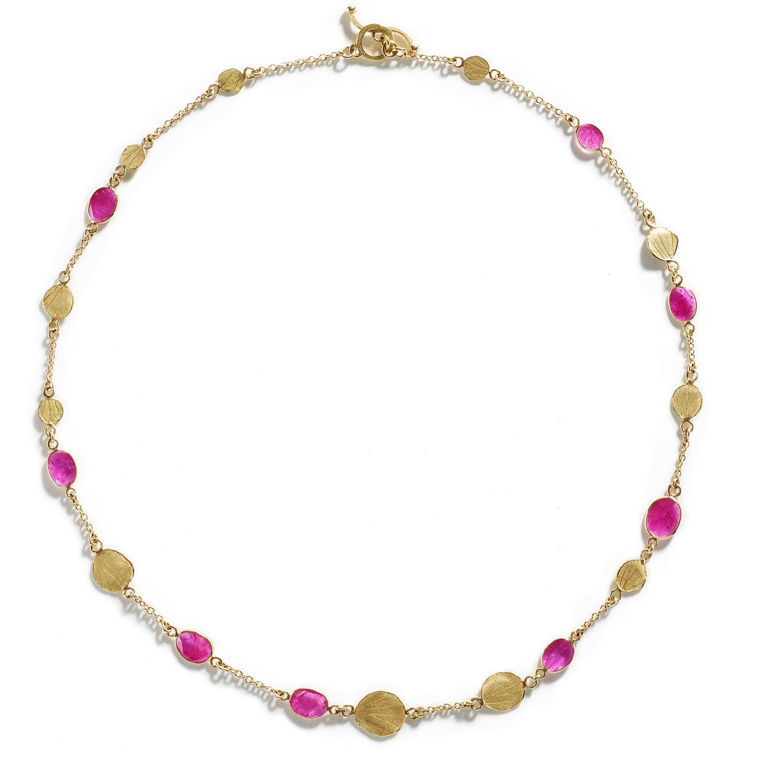 Rose Cut Ruby & Gold Necklace