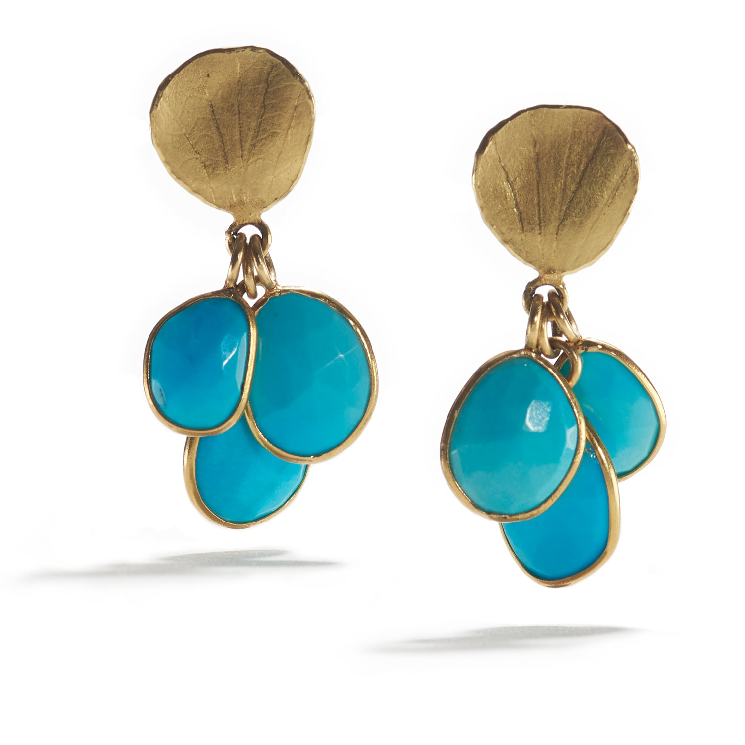 Cluster Turquoise and Petal Earrings