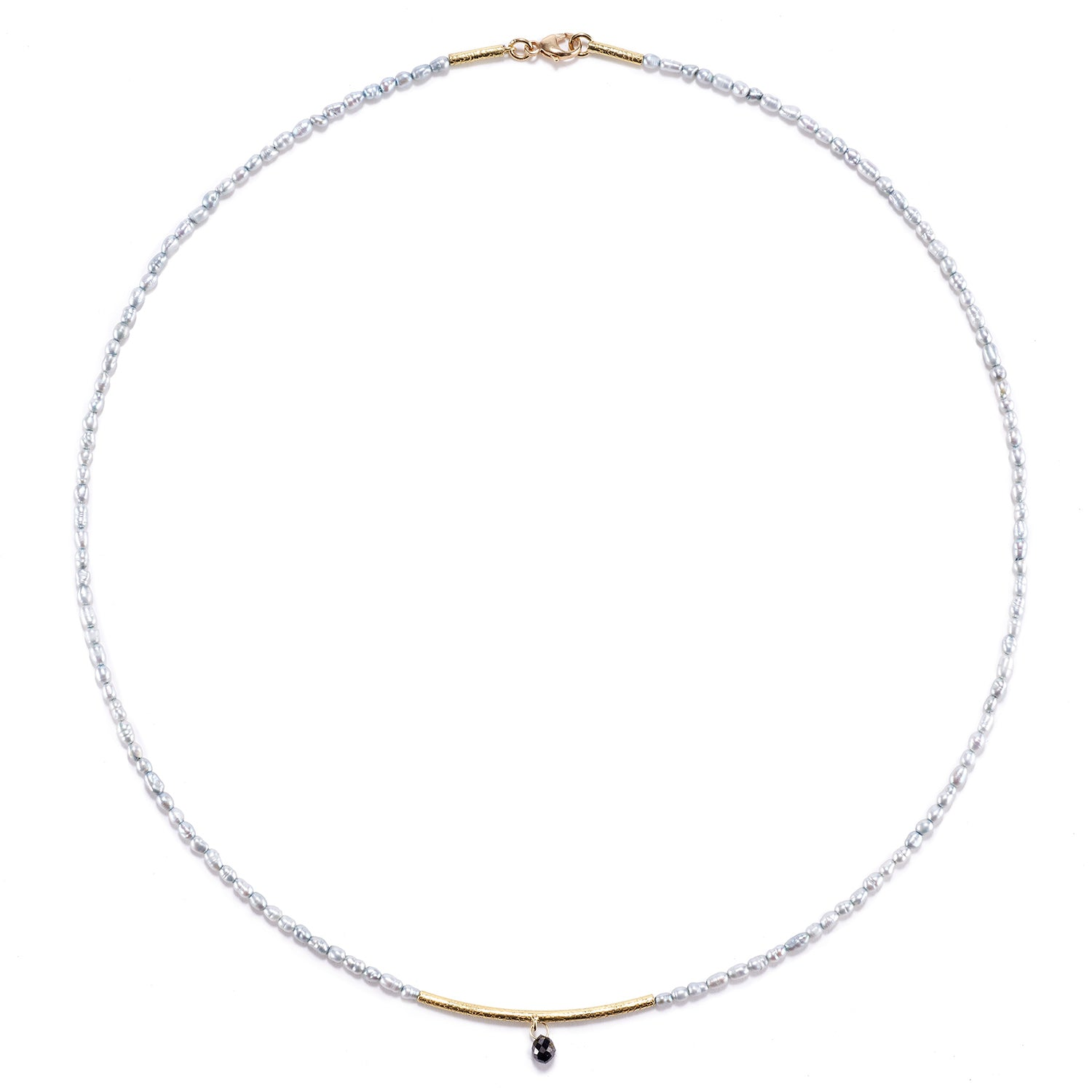 Navette Bar, Grey Pearl and Diamond Drop Necklace