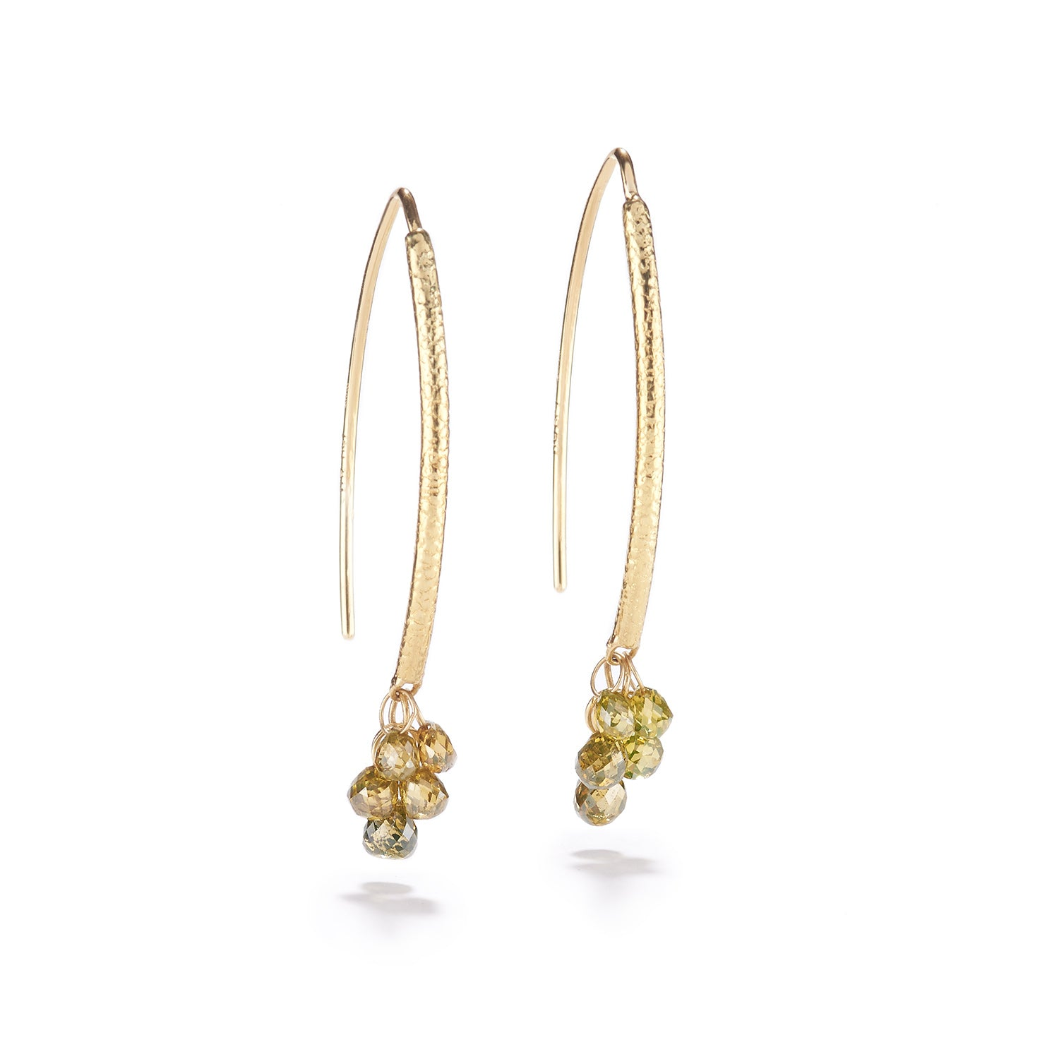 Navette Diamond Drop Earrings~10 Green Diamonds