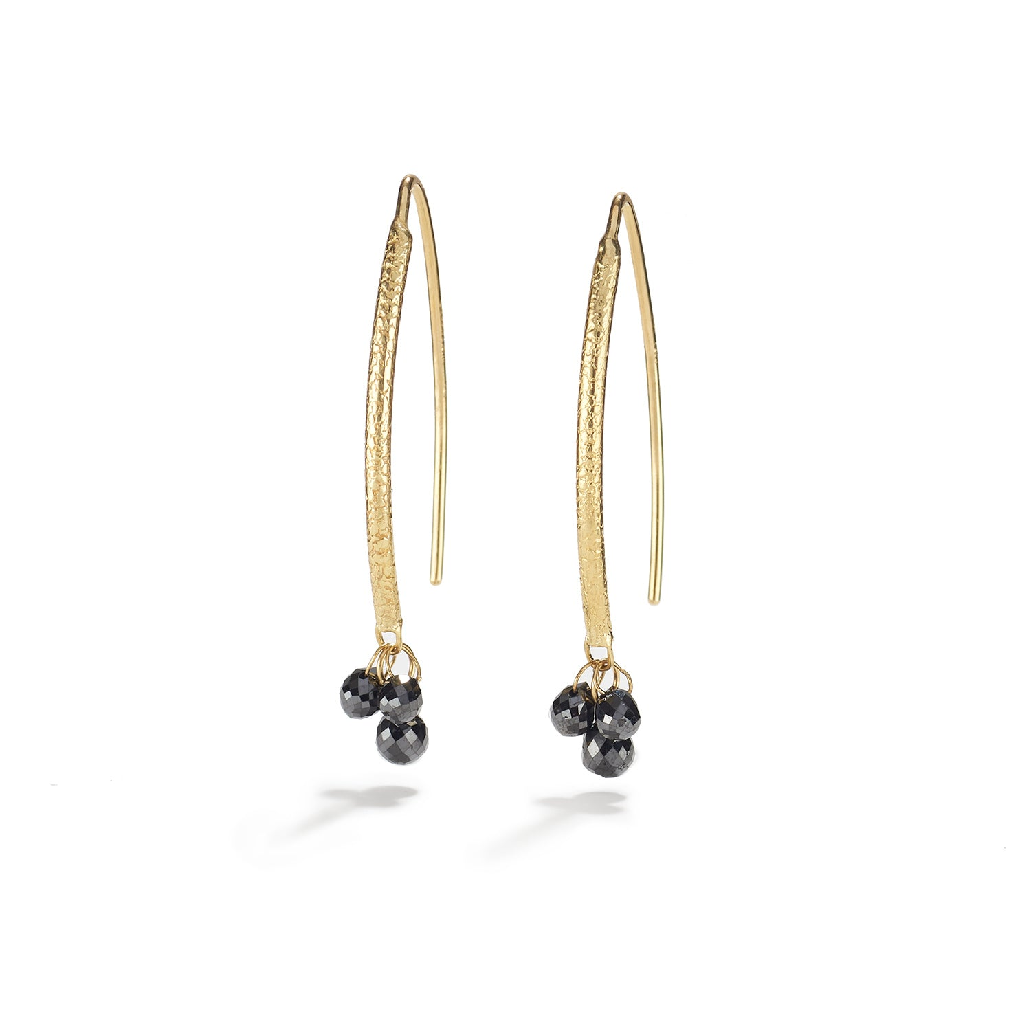 Navette Black Diamond Briolette Drops~6 Black Diamonds