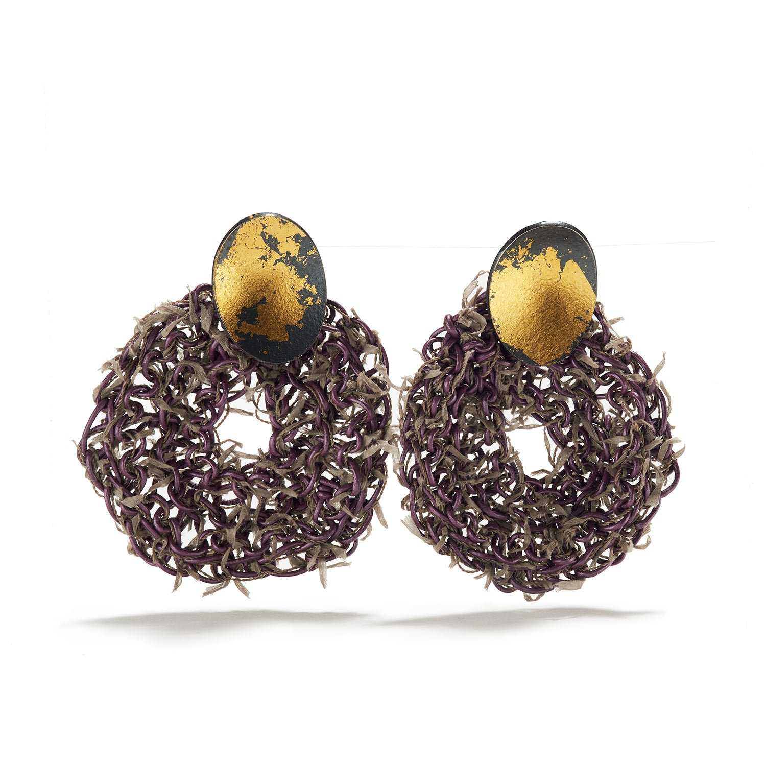 Purple & Gray Fiber Earrings