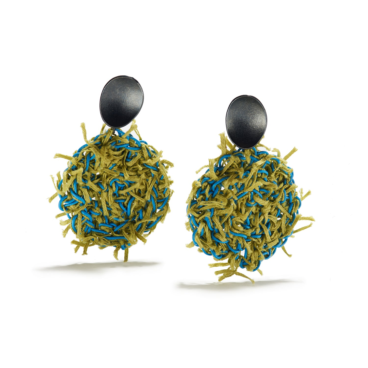 Aqua & Green Fiber Earrings