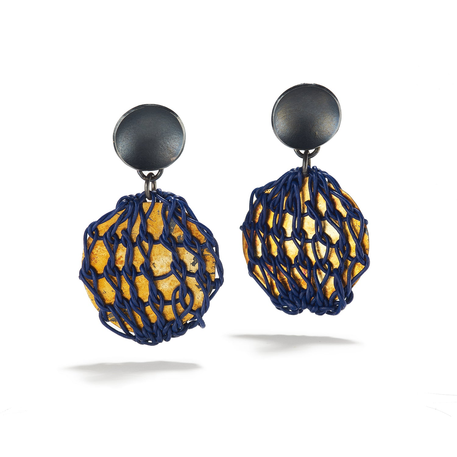 Navy Encased Earrings