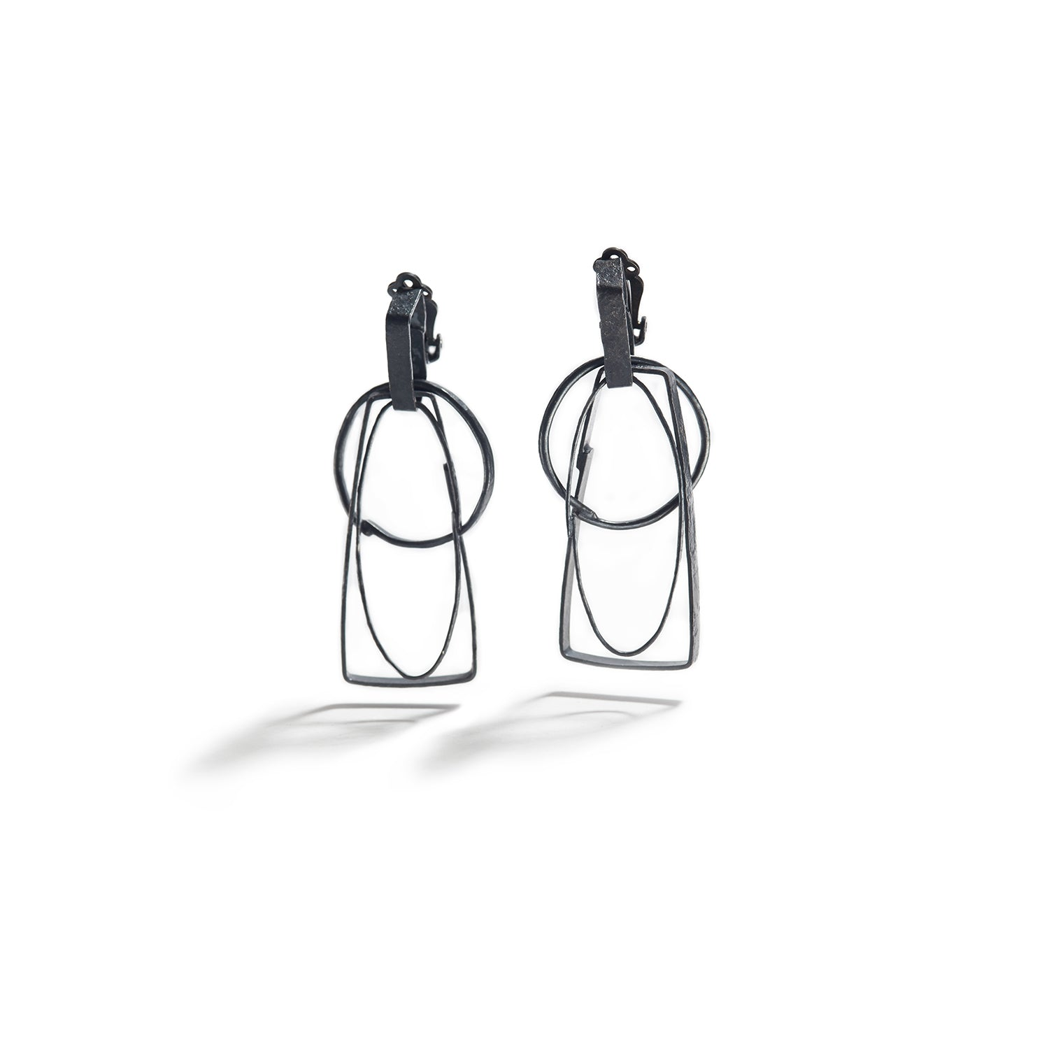 Short Silver Shape Earrings