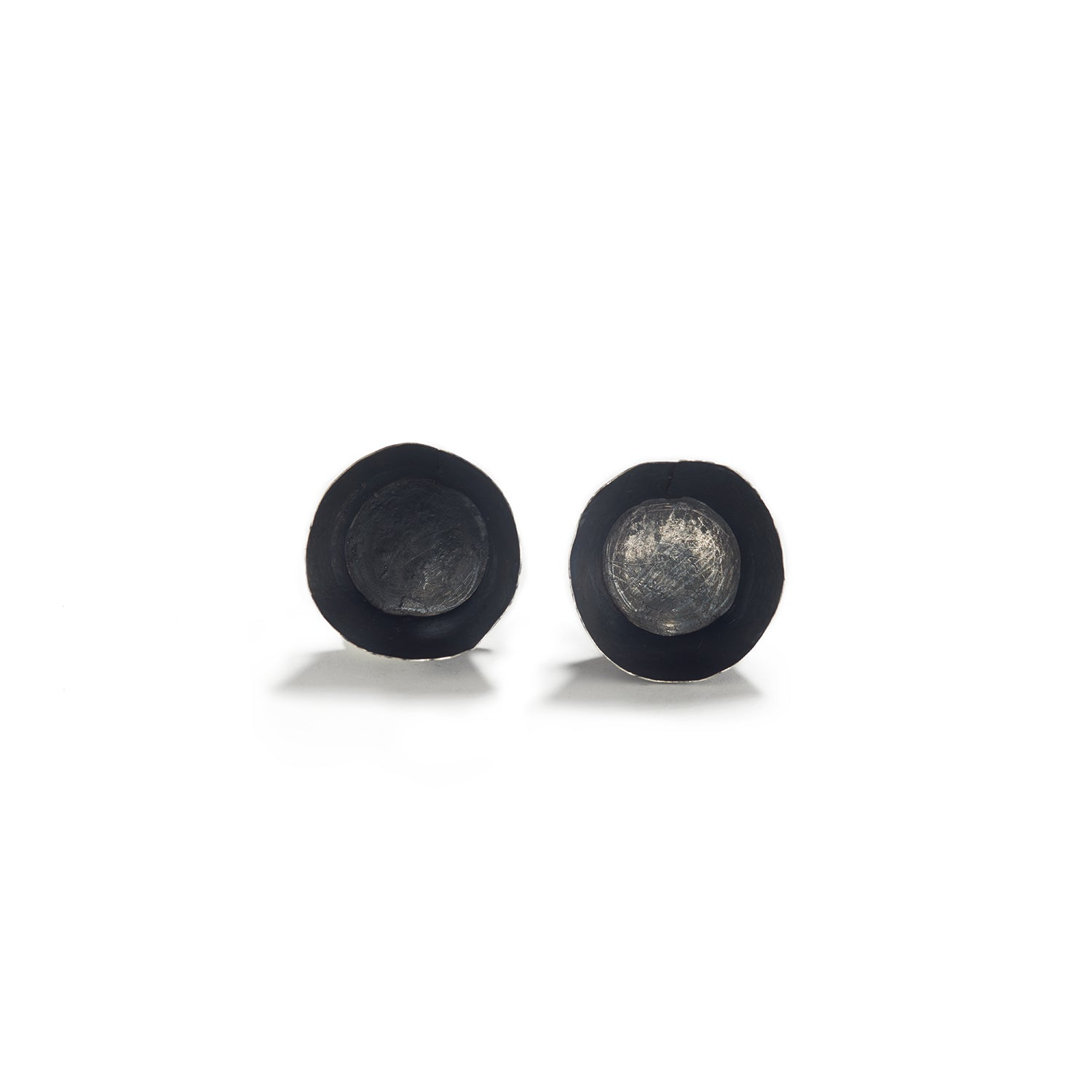 Oxidized Sterling Silver Bowl Earrings