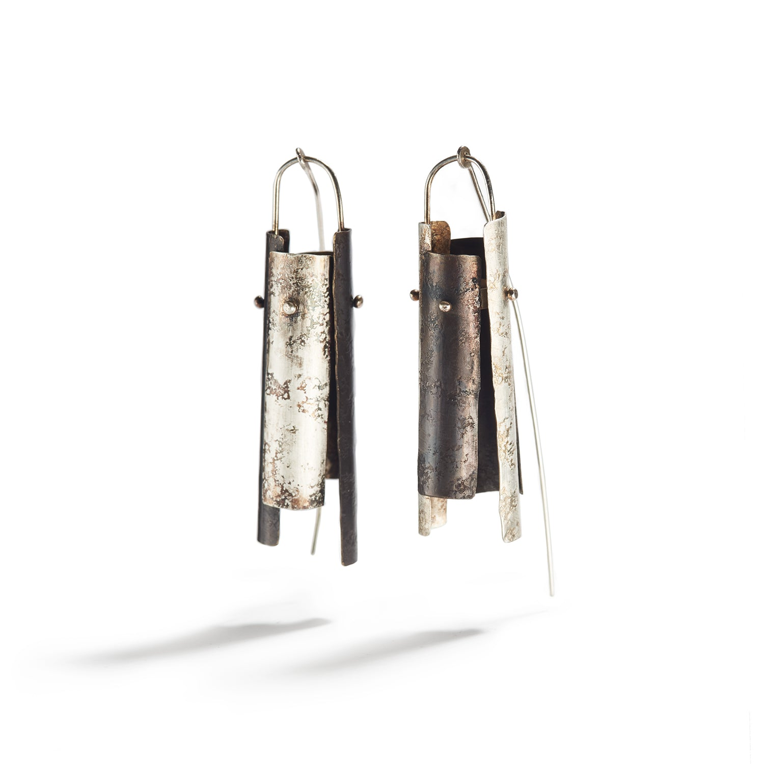 Patina'd Bronze and Silver Earrings