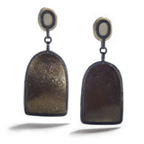 Oxidized Silver, Antler & Mica Earrings