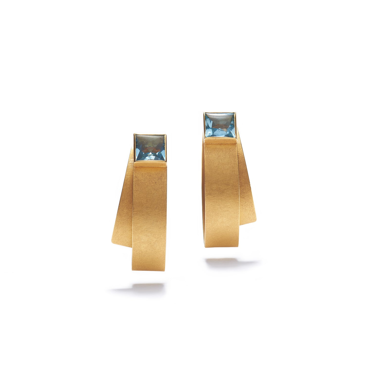 Folded Aquamarine Earrings