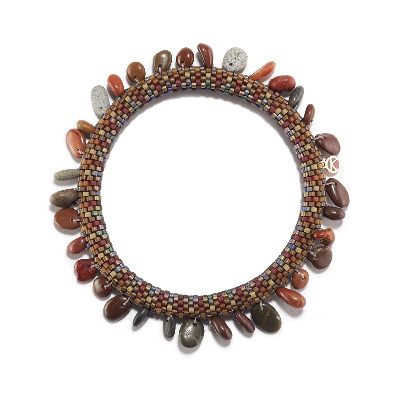 Red and Brown Beach Pebble Bracelet