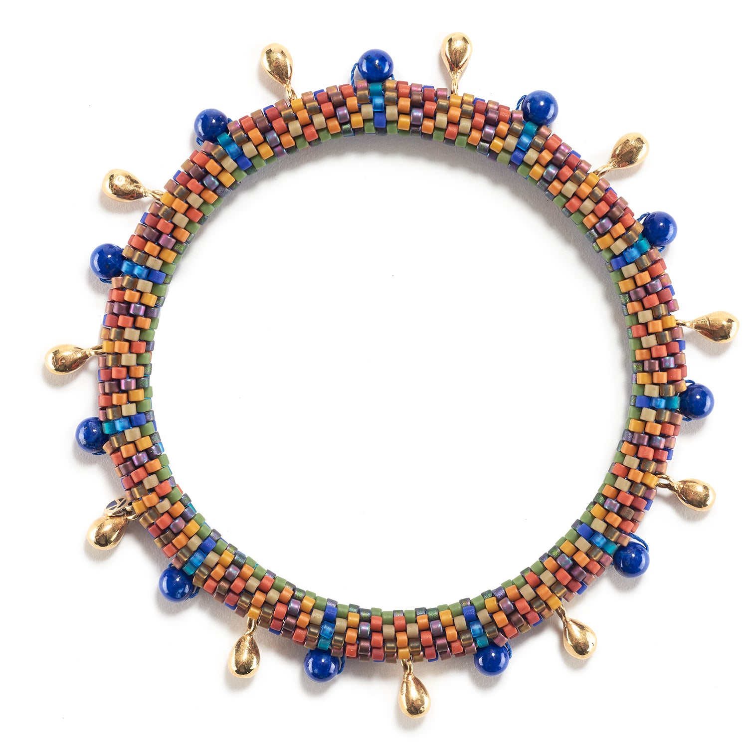 Holiday Side by Side Bracelet with Lapis and Gold