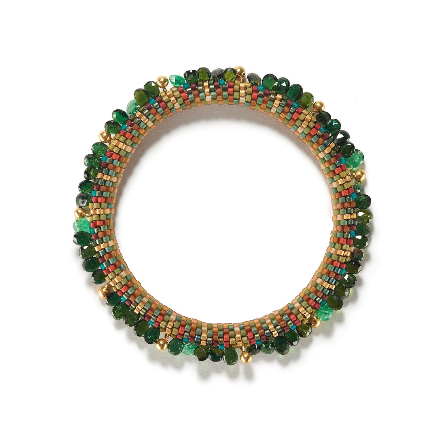 Holiday Green and Gold Bracelet