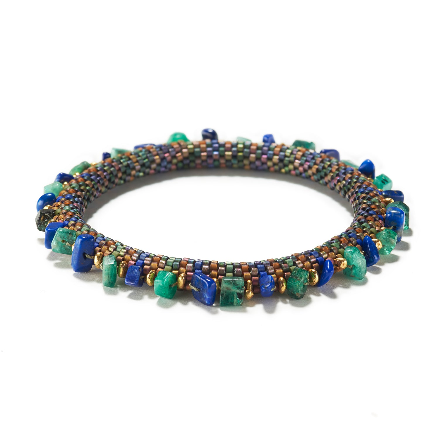 Holiday Emerald and Lapis Bracelet