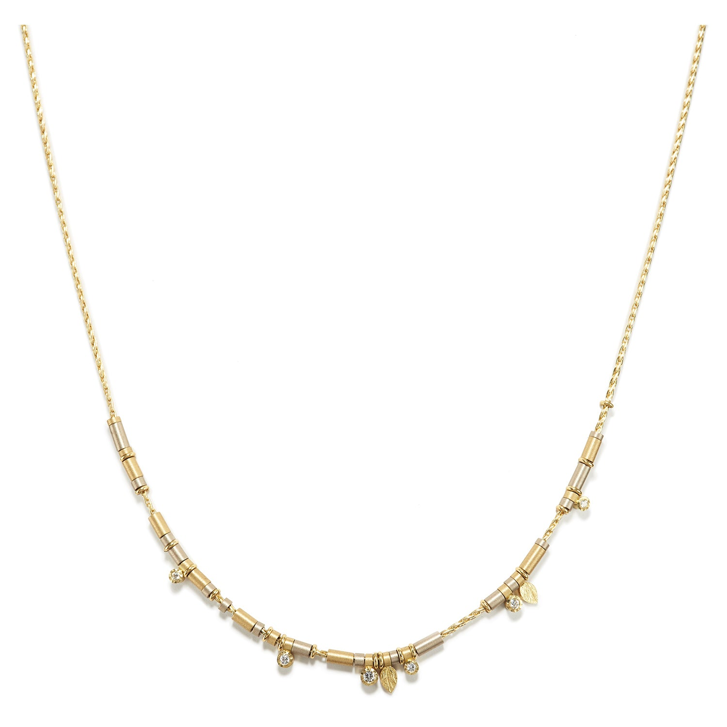 Diamond Drop Necklace in All Gold ~ 6 Diamonds