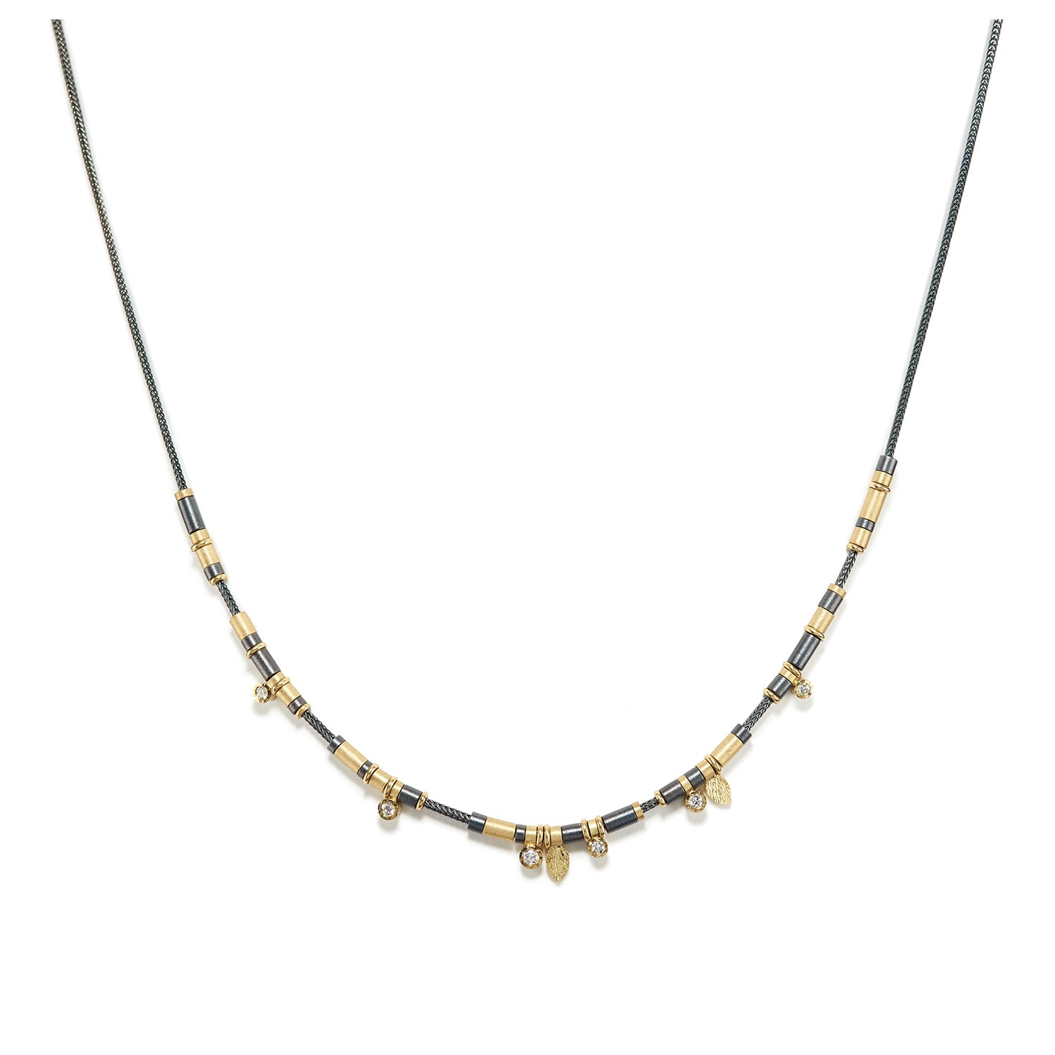 Diamond Drop Necklace in Oxidized Sterling & Gold ~ 6 Diamonds