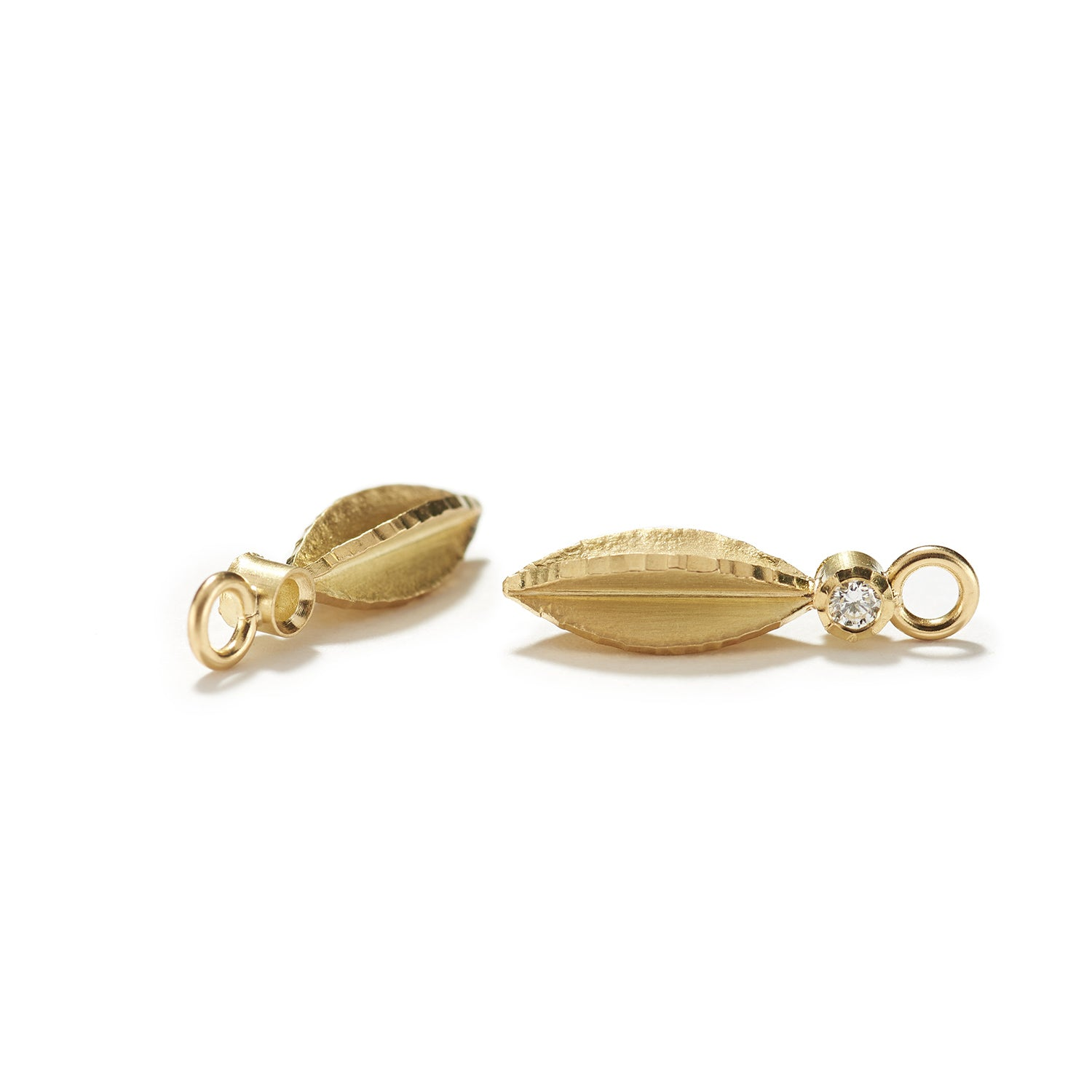 Large Pair of Gold Seeds with Diamond Drops