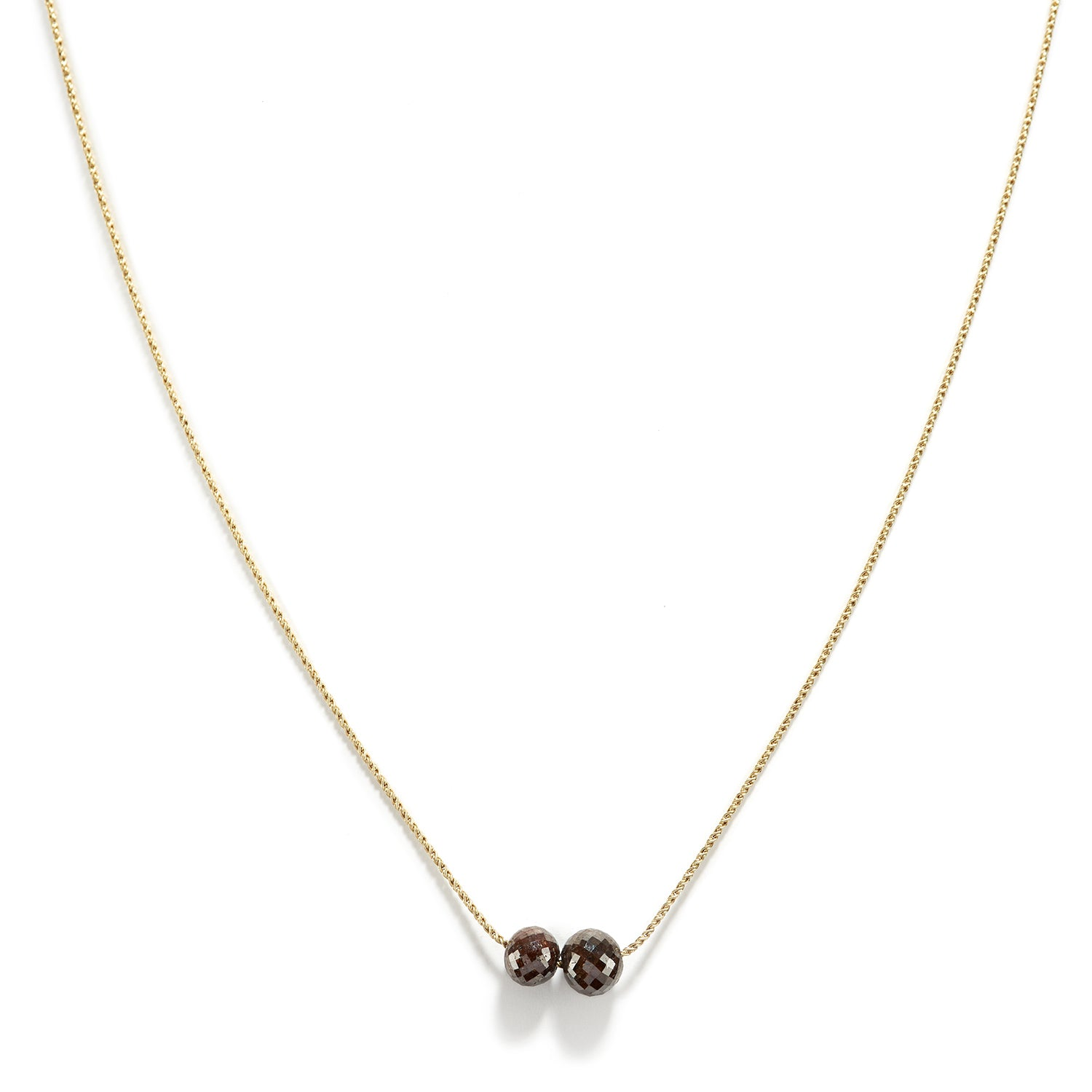 Rustic Brown Double Diamond Necklace