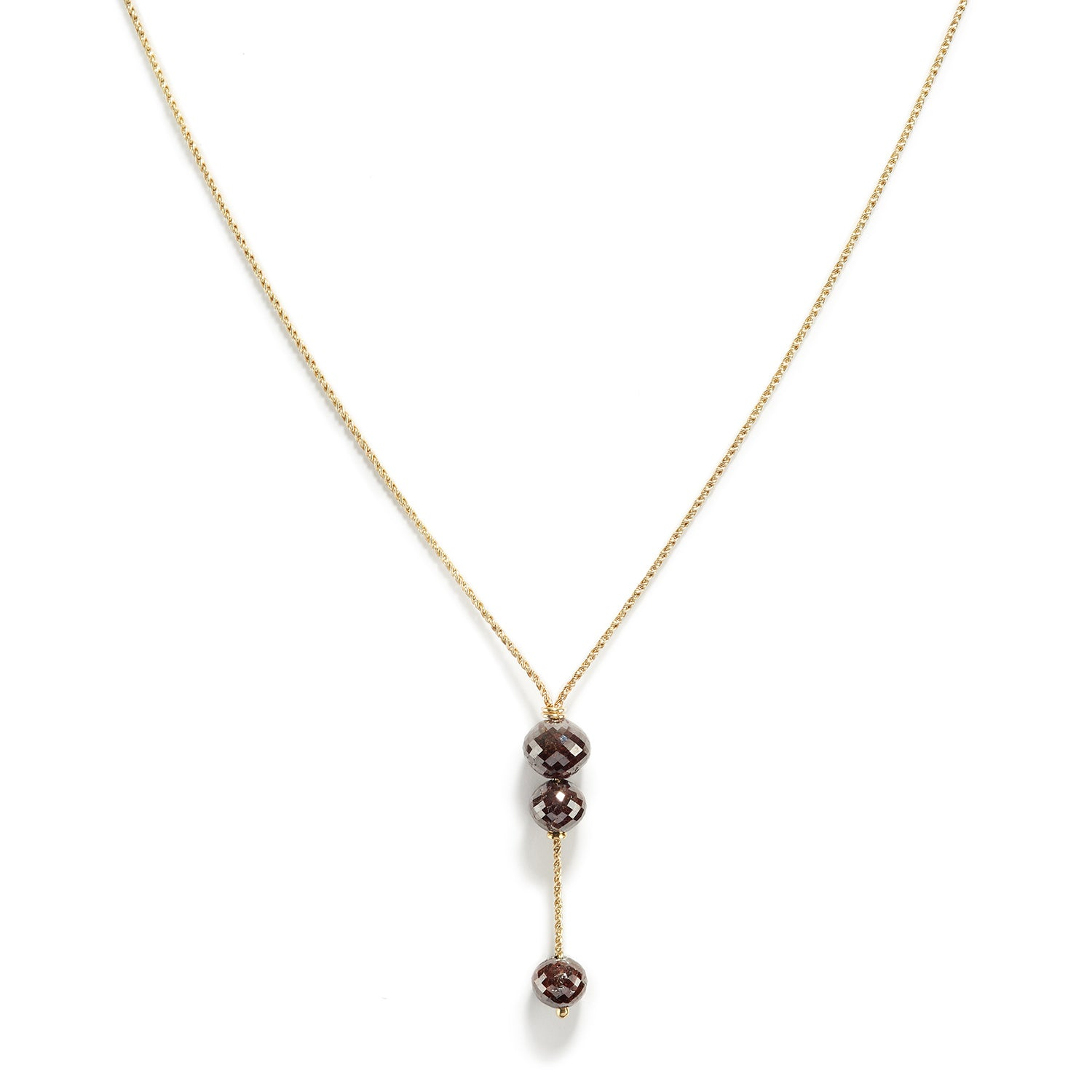 Rustic Brown Triple Diamond Necklace