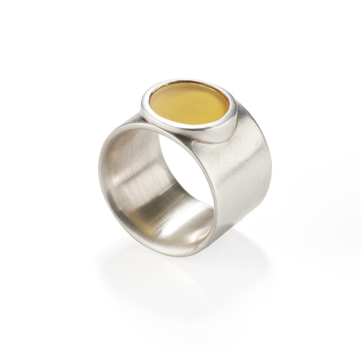 Round Yellow Agate Ring
