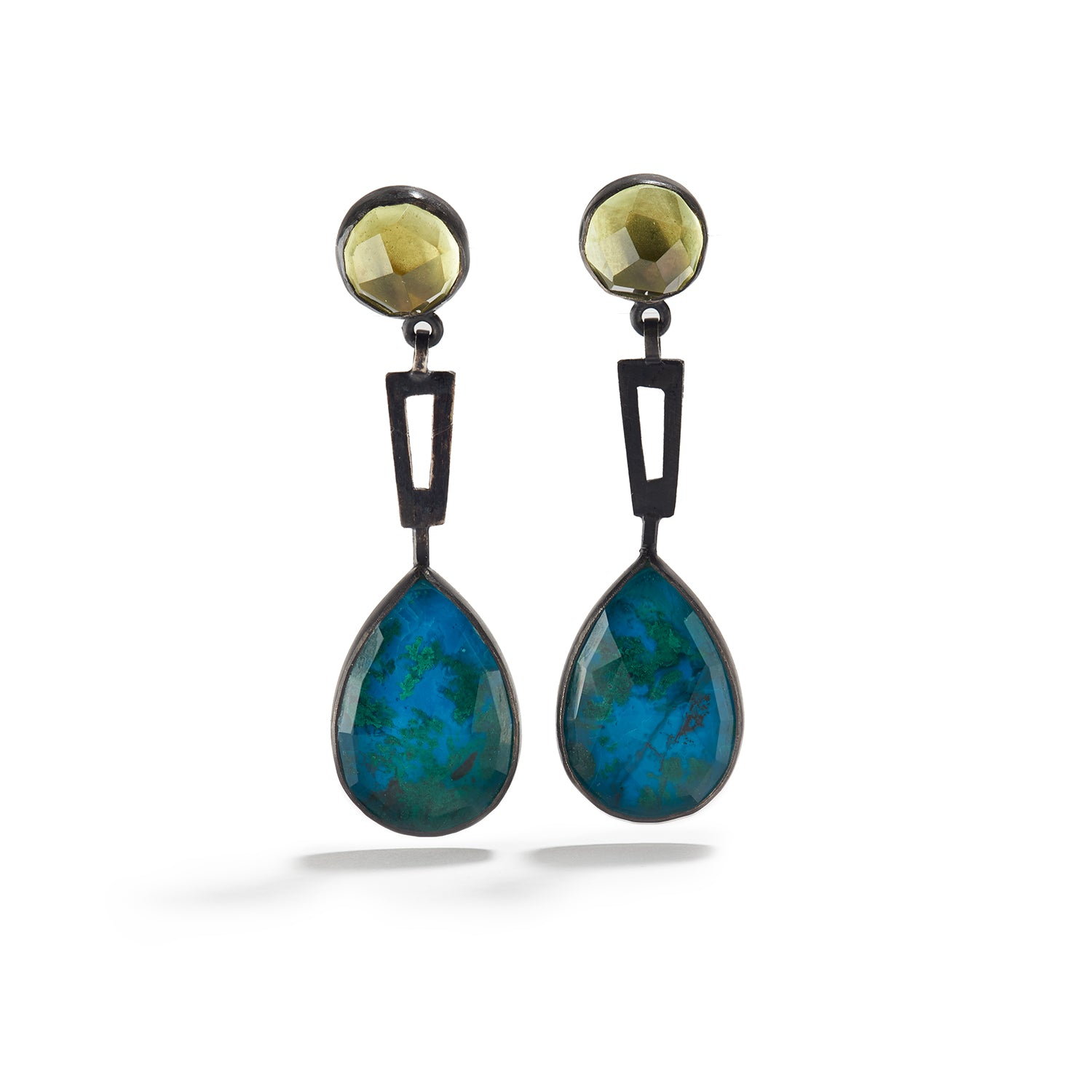 Drops with Lemon Quartz and Chrysocolla