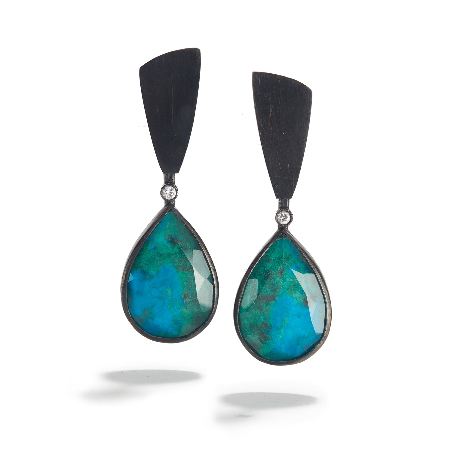 Chrysocolla & Rock Crystal Rounded Drops with Diamonds