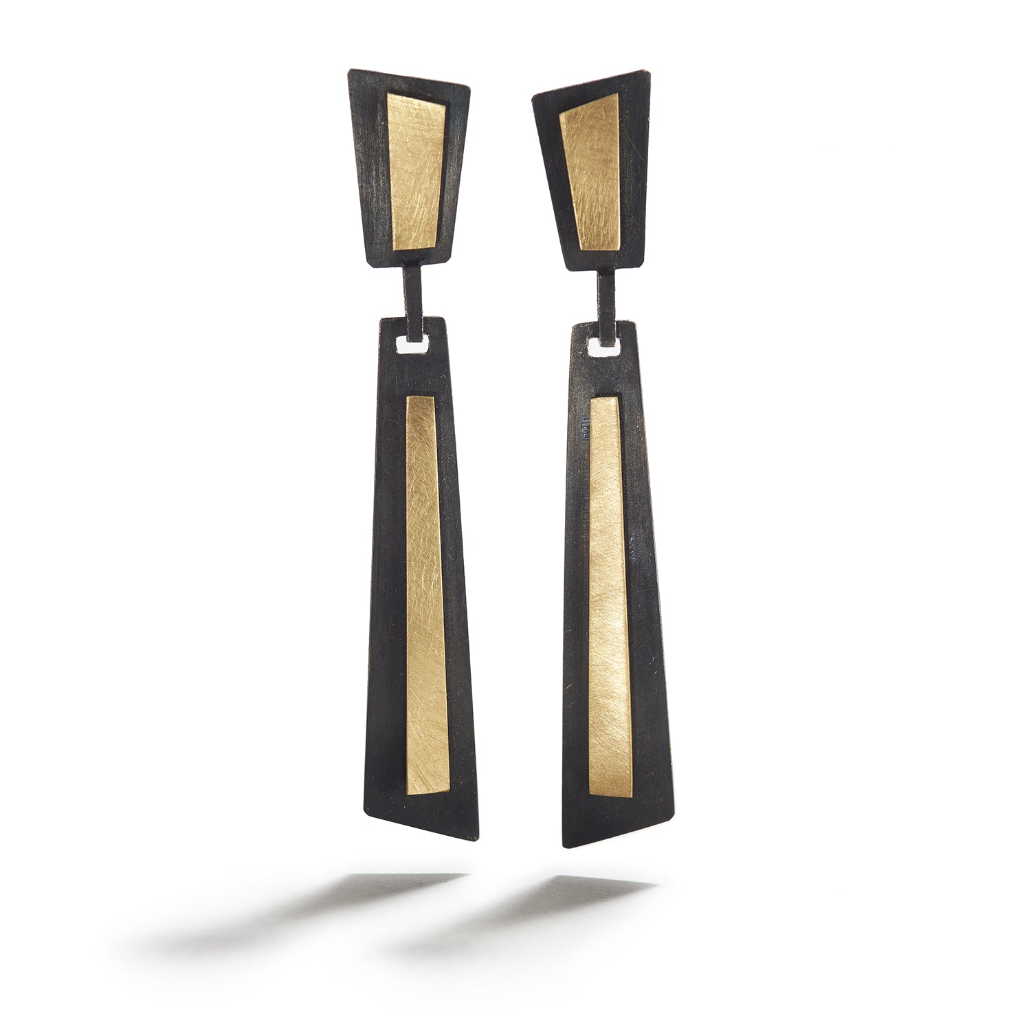 Flared Shape Earrings in Silver & Gold