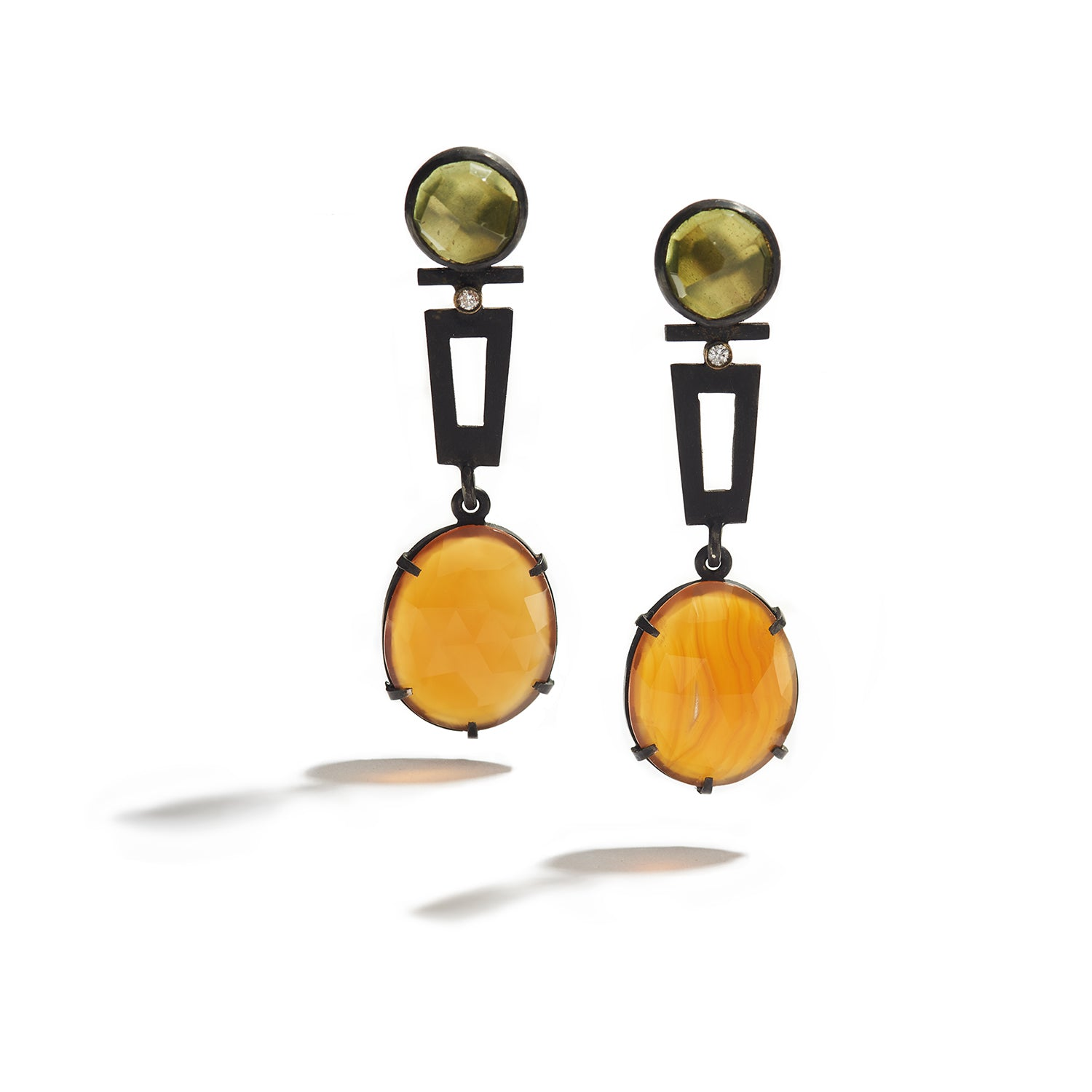 Lemon Honey Earrings with Garnet & Quartz