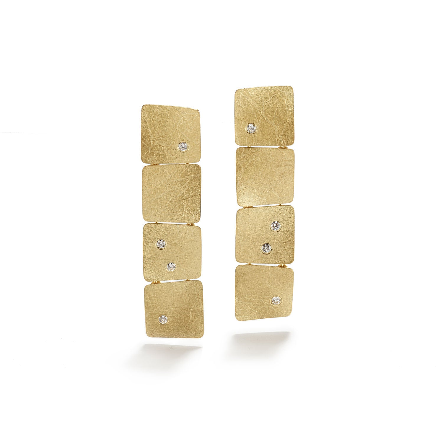Wave Gold Earrings with Diamonds
