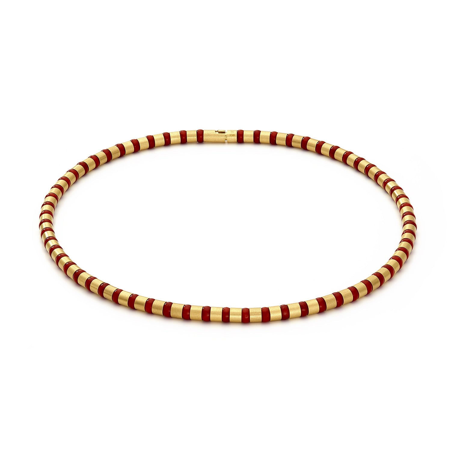 Cleopatra Gold Collier~5mm Red Coral