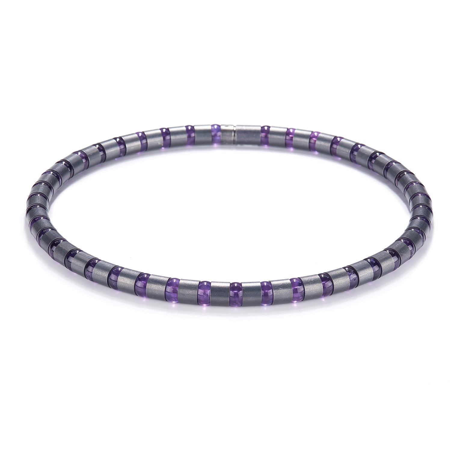 Cleopatra Oxidized Silver Collier~8mm Amethyst