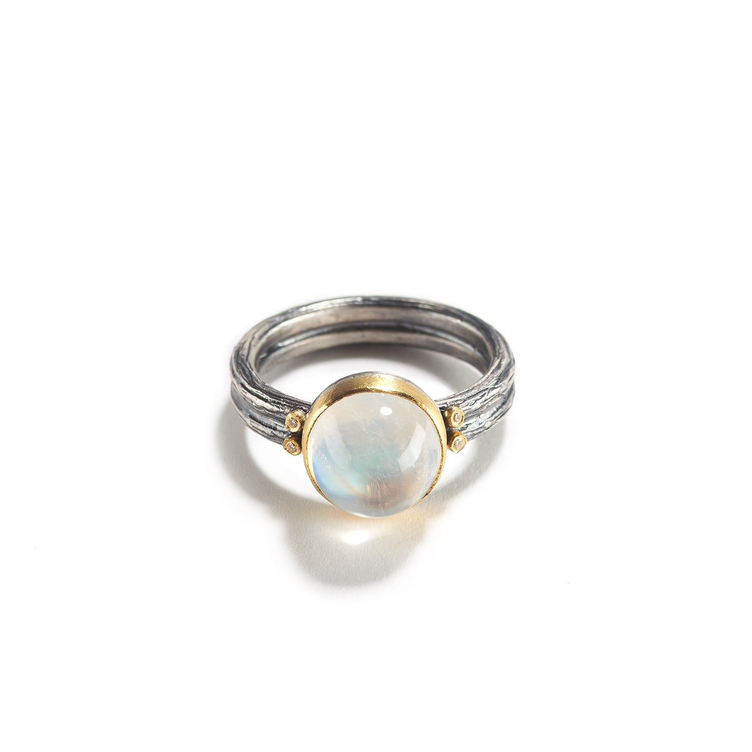 Moonstone, Diamond and Silver Ring