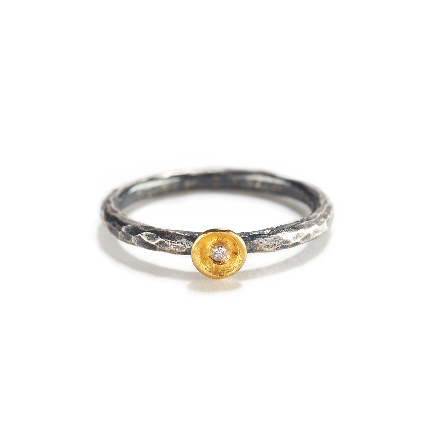Gold and Silver Ring with Small Diamond